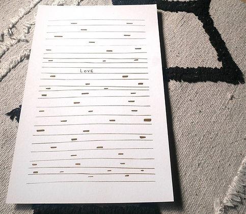 """Lisa Joseph - Affiche """"Love"""" Doré - format 21 x 29,7 cm, papier fsc 300gr"""