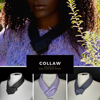 C.Pouki - Collaw bleu marine, collier en V