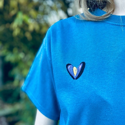 POP DAY - T-shirt bleu moule cœur  - taille M