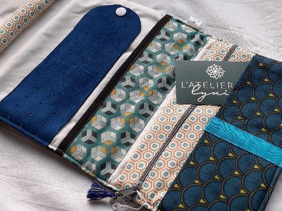 Atelier de Lynie - Pochette à bijoux Fanny losanges turquoises