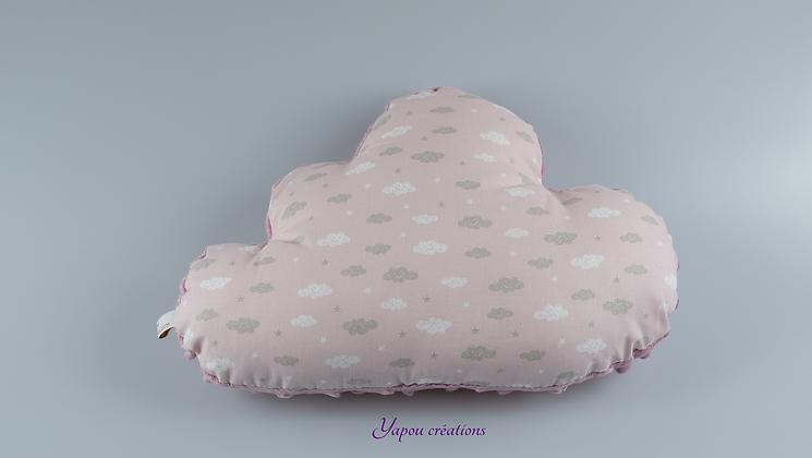 Yapou Créations - Coussin nuage - Nuages roses