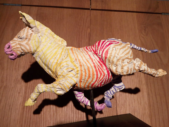 Marie Sculpture - Zèbre multicolore
