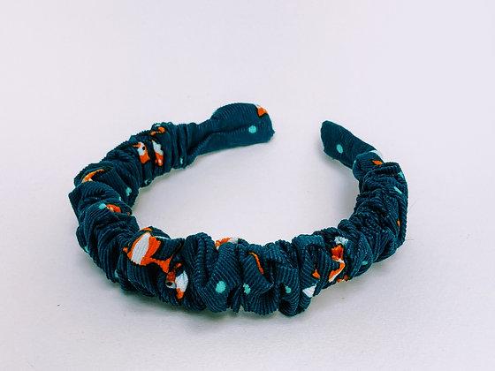 Presse Papier Ciseau - Serre tête turquoise en velour motif renard avec plis