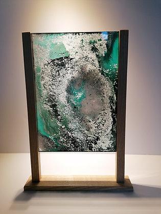 Oeuvres Translucides - Œuvre sur plaque de verre, support en bois