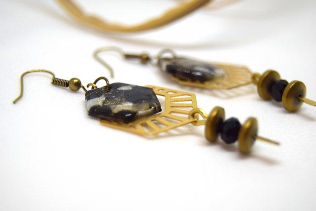 Atelier de Lynie - boucles d'oreilles Rosy noir et or