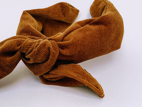 Presse Papier Ciseau - Serre tête en velour brun avec un gros noeud