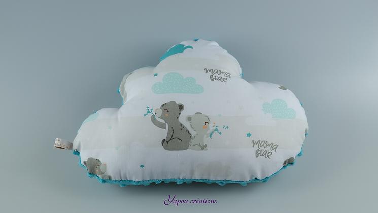 Yapou Créations - Coussin nuage - Oursons turquoises