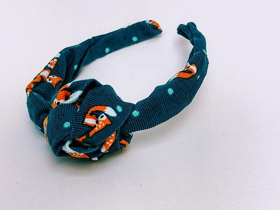 Presse Papier Ciseau - Serre tête turquoise en velour motif renard + gros noeud