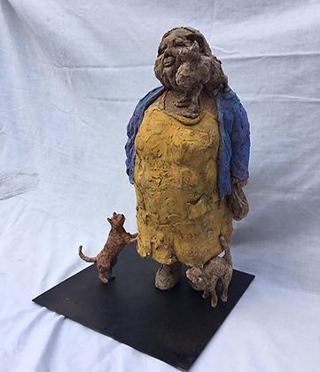 Marie Sculpture - La vieille aux chats