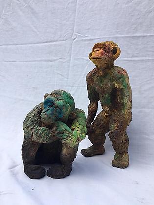 Marie Sculpture - Singes colorés