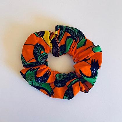 POP DAY - Chouchou en wax orange, vert & jaune
