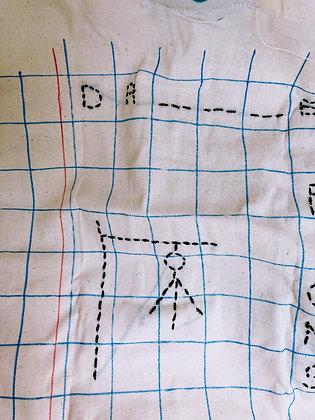 Presse Papier Ciseau - Tote bag brodé PENDU turquoise