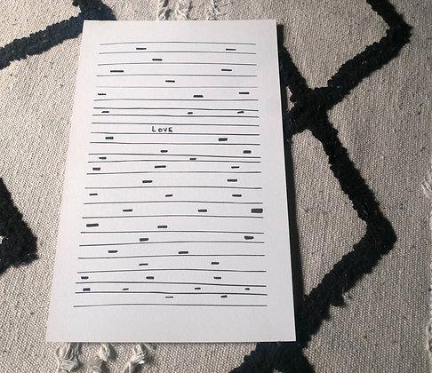 """Lisa Joseph - Affiche """"Love"""" Noir - format 21 x 29,7 cm, papier fsc 300gr"""