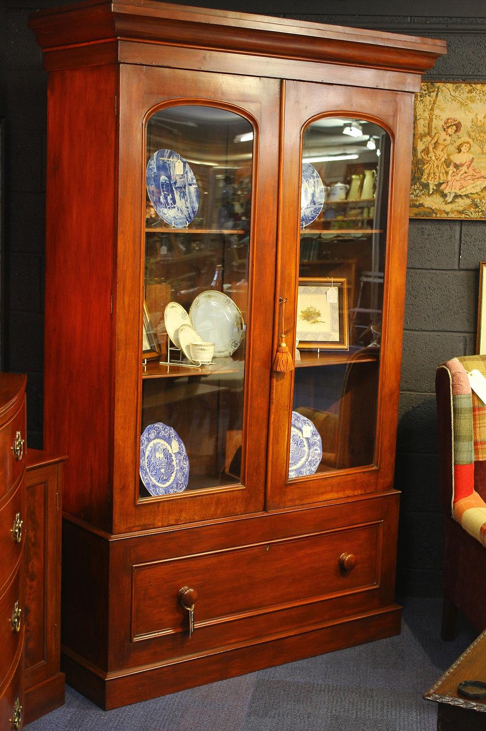 Victorian Mahogany Bookcase Display Cabinet