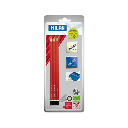 3 crayons HB + gomme + taille crayon