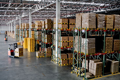 forklift in the large modern warehouse.j