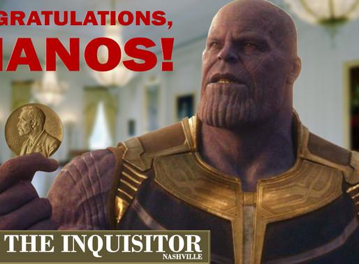 Norwegian lawmaker nominates Thanos for Nobel Peace Prize