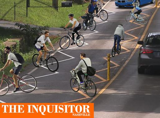 Nashville's new zig-zag bike lanes causes huge kinks in traffic