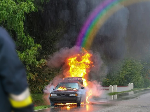 Investigators blame errant rainbow for local car fire, warn against chasing