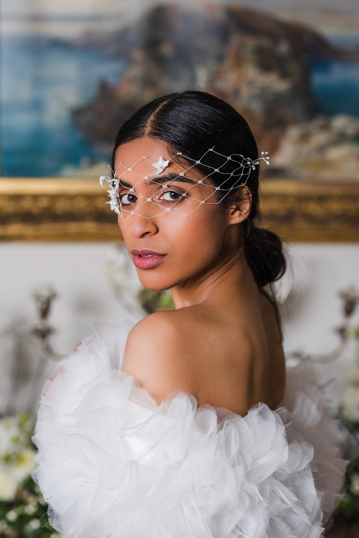 Morgan & Grieves Photography | Bride looking over her shoulder, wearing veil mask over her eyes