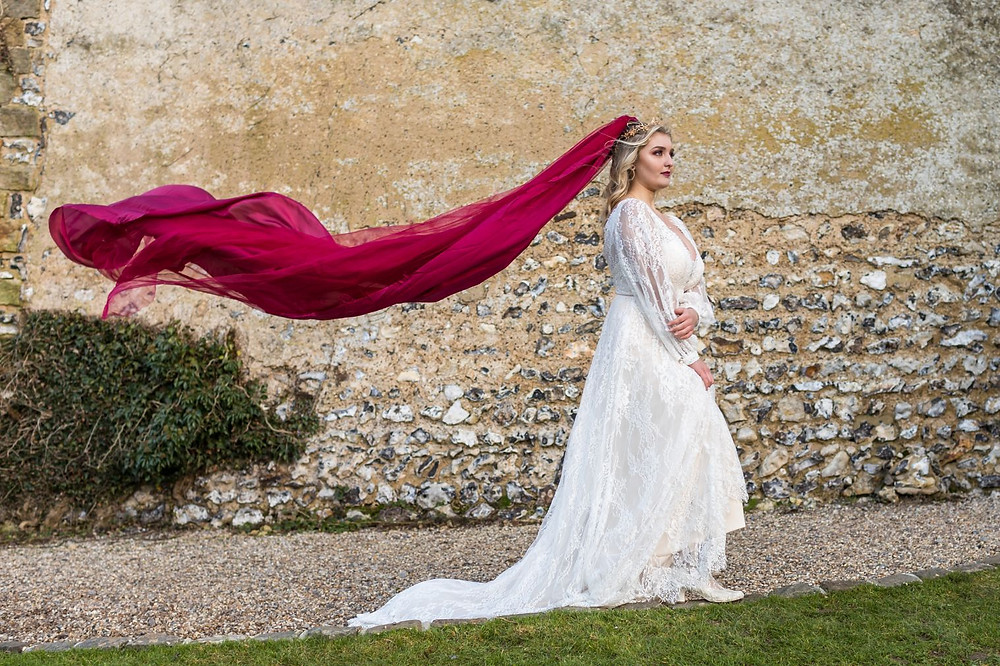 Long red wedding veil for alternative wedding style