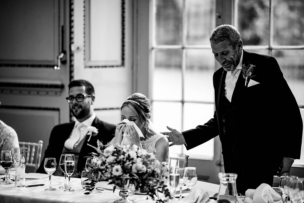 Black and white image of Father of the Bride's speech