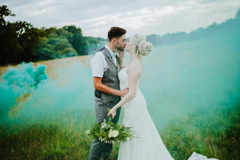 Smoke Bomb Wedding in Field