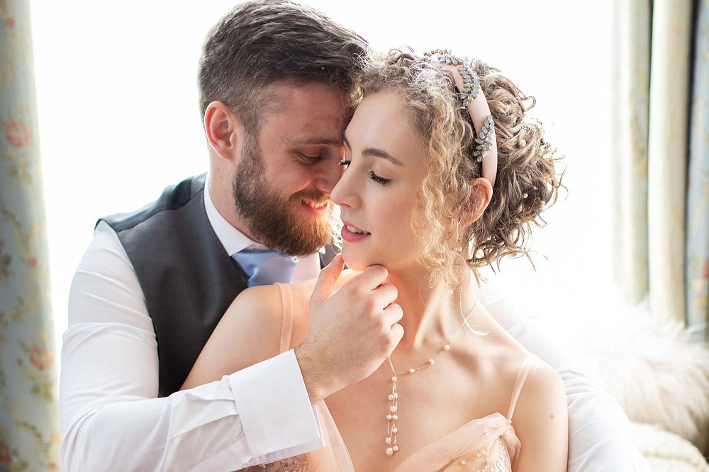Florence Berry Photography | Bride and groom embracing, bride wearing pink wedding dress, romantic wedding, Regency Wedding, Jane Austen Wedding, Bridgerton Wedding