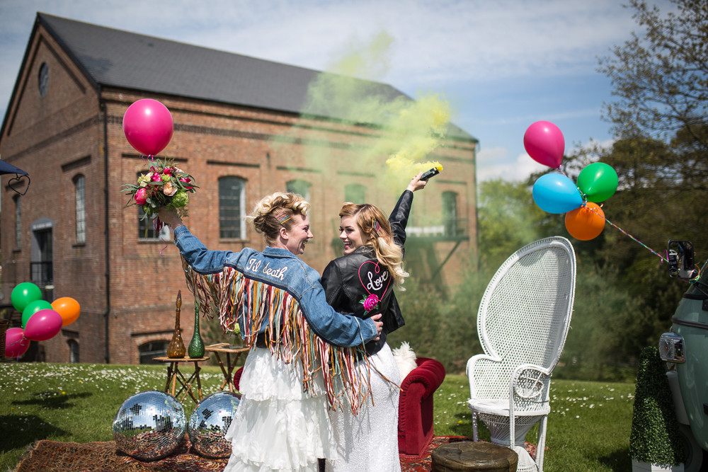 Florence Berry Photography | LGBTQ Wedding | Colourful Wedding | Balloons at a wedding