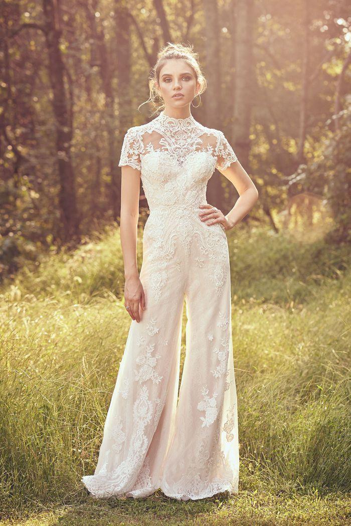 Lace bridal jumpsuit by Justin Alexander