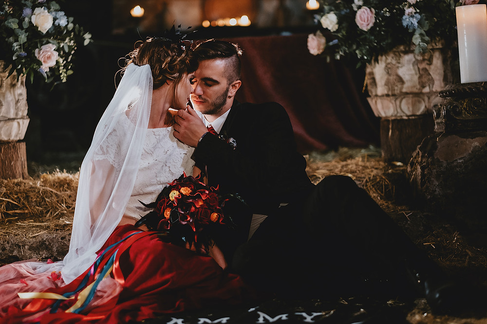 Tom Jeavons Photography | Gothic alternative black and red wedding