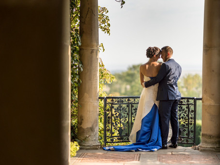 Jen & Phil - a truly 'blue-tiful' day at Port Lympne Hotel