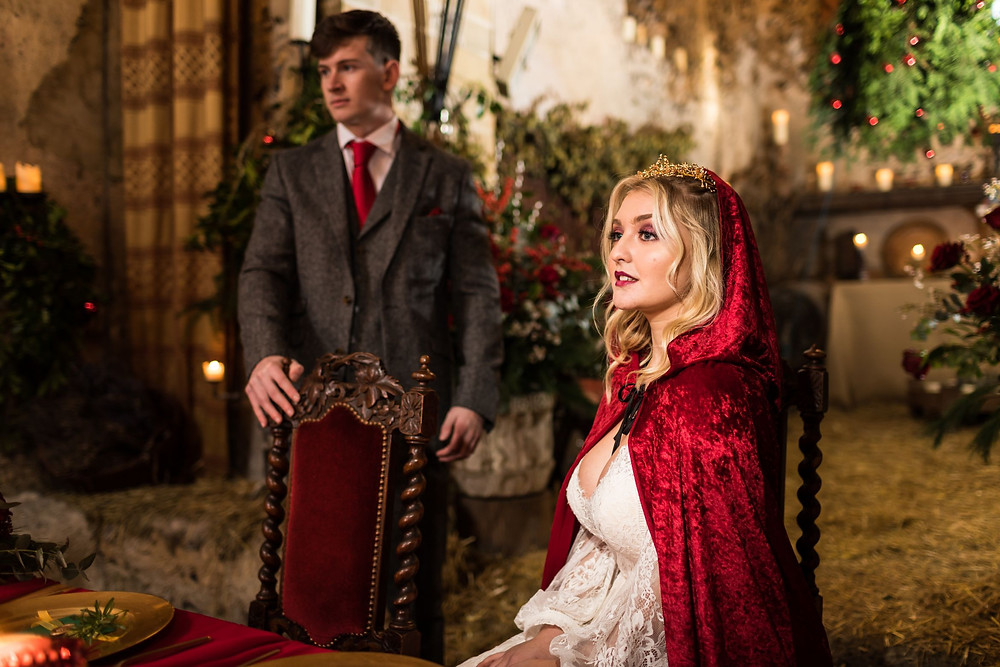 Steve Mulvey Photography | Bride wearing red cape, Christmas wedding idea, medieval wedding, Lost Village of Dode, Kent Wedding Blog