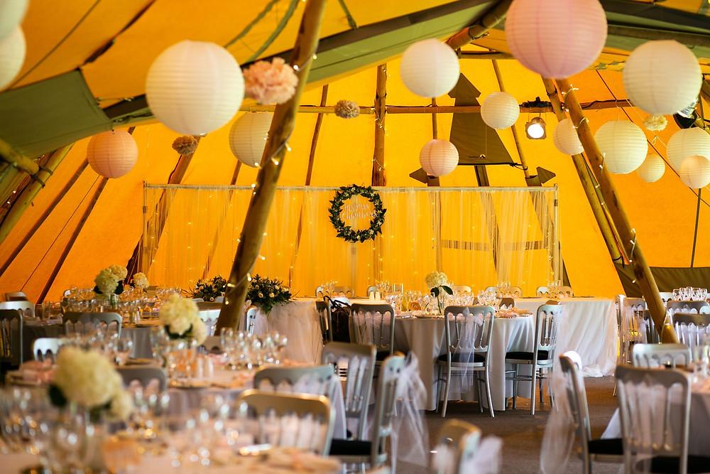 Tent, tipi wedding in Kent, paper lanterns, wedding decor