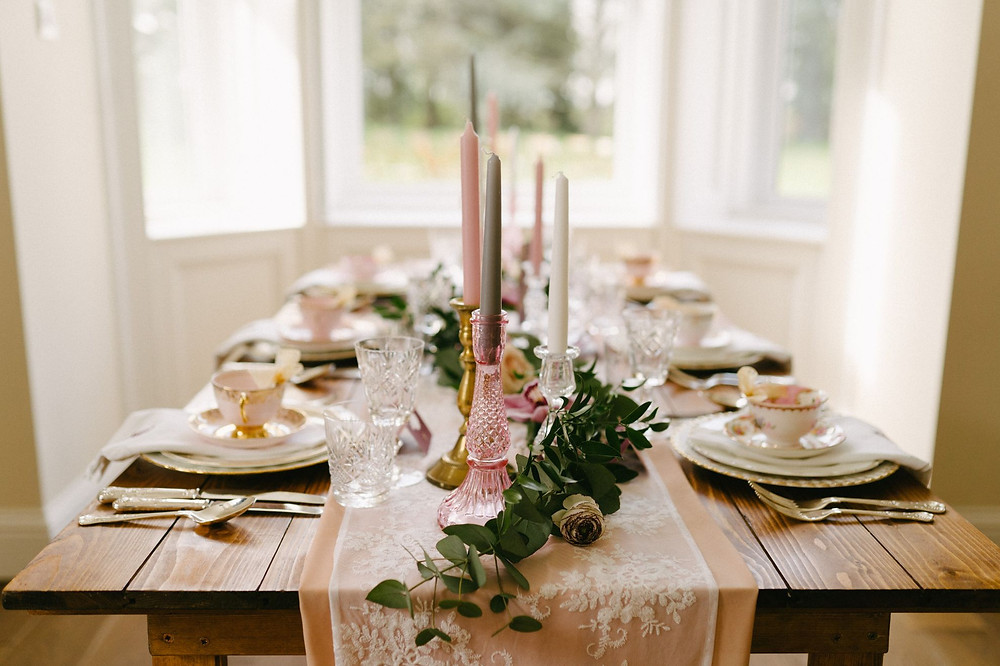 Vintage afternoon tea wedding reception