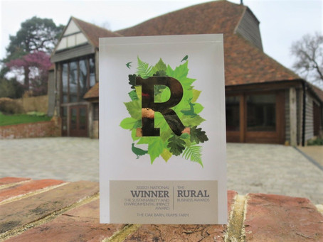 The Oak Barn WINS Top Environmental and Sustainability Award!