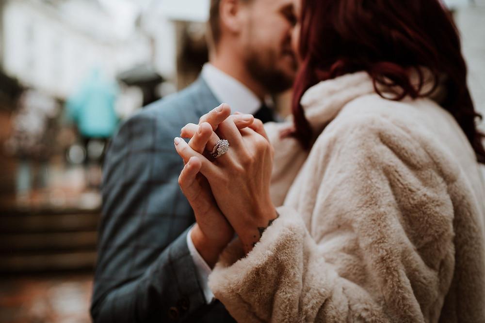 Nicola Dawson Photography | Big diamond engagement wedding ring, bride and groom holding hands, close-up wedding shot