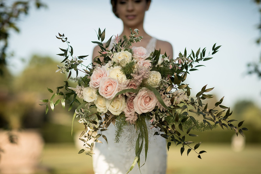 Peach and ivory flowers bridal bouquet