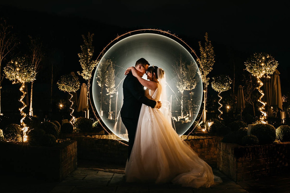 © Matt Trott Photography | night shot of bride and groom in circle of light