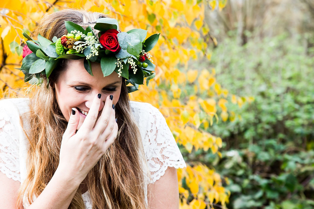 Strawberry Photography | bride laughing, bride wearing red rose flower crown