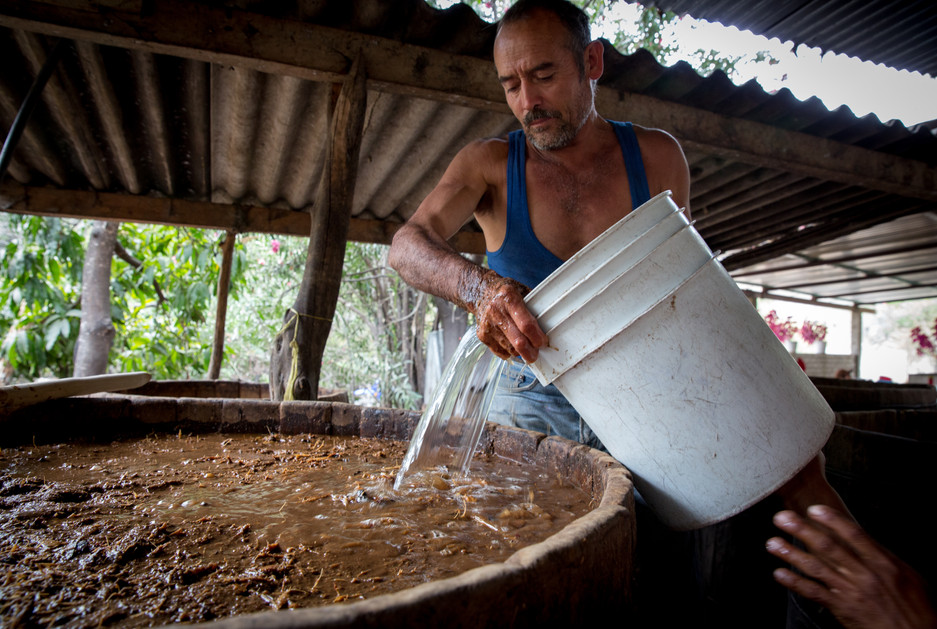 Aquilino García López, a fifth-generation mezcalero in Candeleria Yegolé and owner of Mezcal Vago, adds water to a fermentation vat.