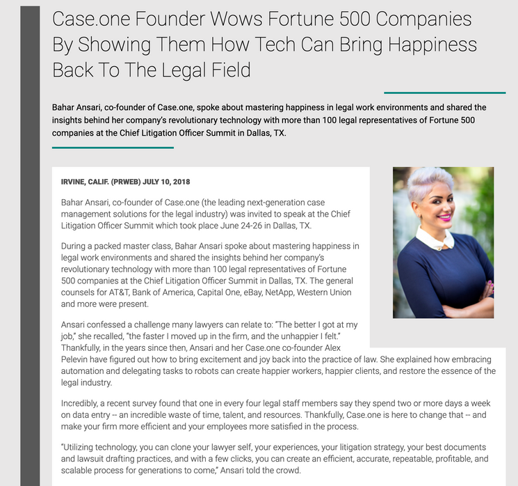 Case.one Found Wows Fortune 500 Companies