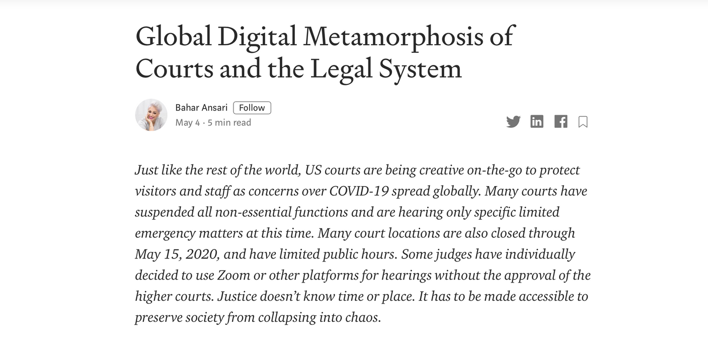 Global Digital Metamorphosis of Courts and the Legal System