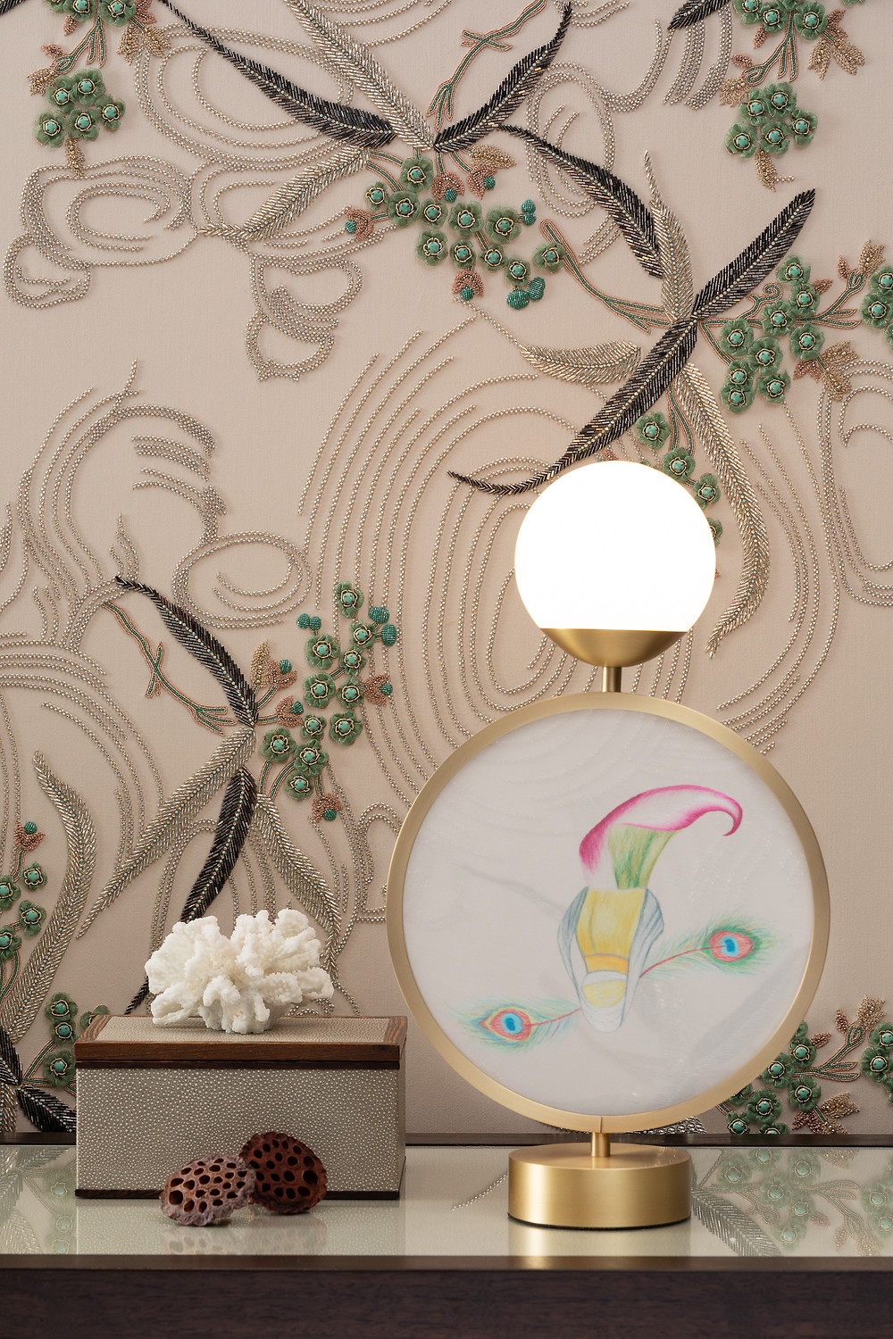Table lamp with handmade silk embroidery panel