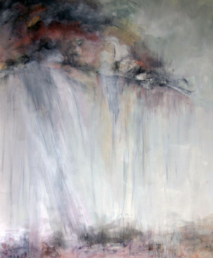 "Pamela Gilmore Hake, Conversation Between Heaven and Earth, acrylic and charcoal, 60"" x 48"