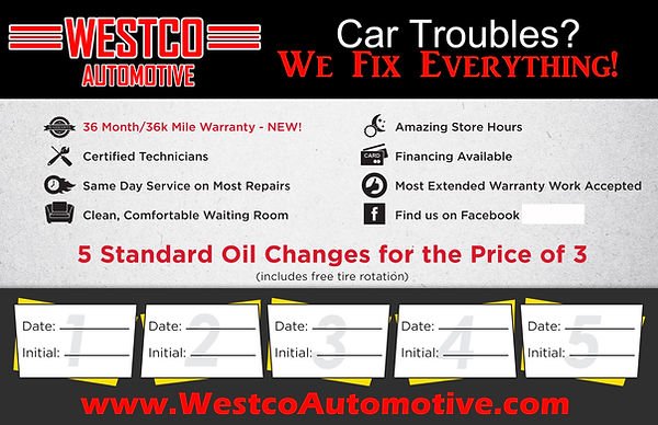 5 pack oil change discount card