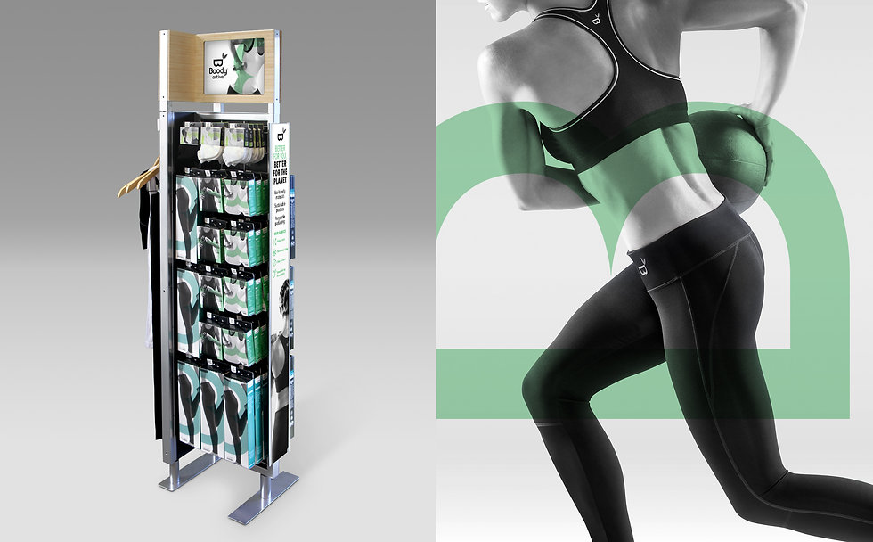 Boody Active store display photography