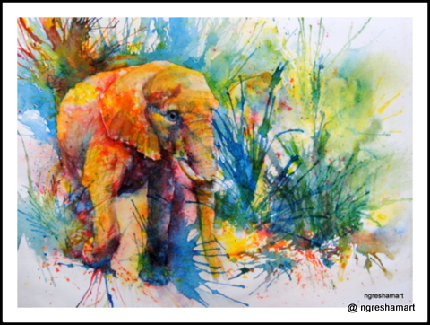 elephant- watercolor, wildlife art, elephant