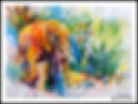 original wildlife painting,watercolor,elephant,african wildlife paintings