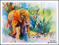 original wildlife painting,watercolor,elephant,african wildlife paintings